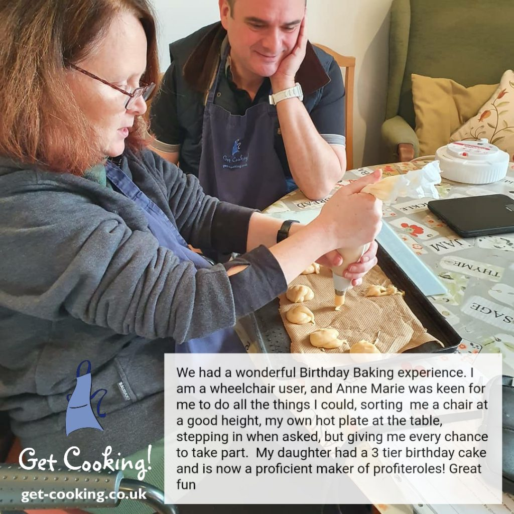 Get Cooking! provides accessible cooking lessons for those with wheelchairs and limited mobility.