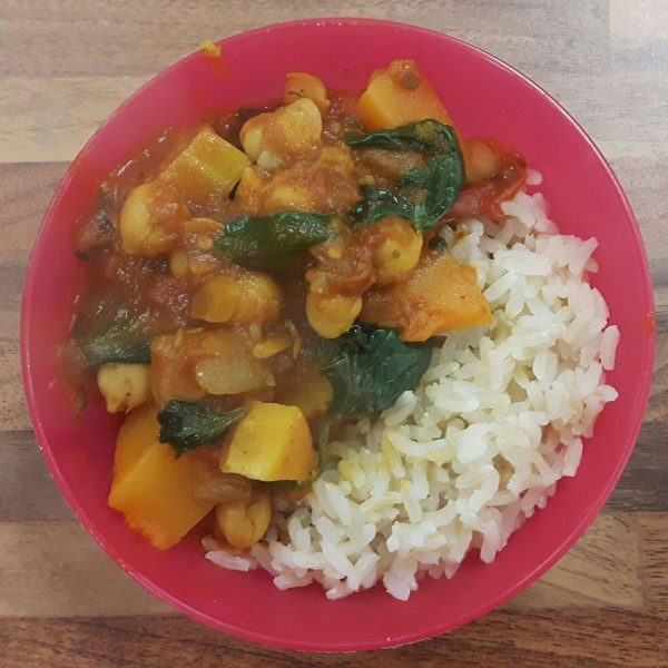 Learn to cook buternut squash and chickpea curry