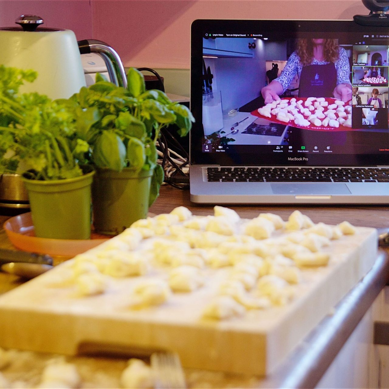 Zoom online cooking lesson