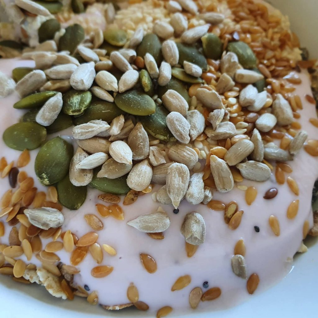nuts seeds and yoghurt
