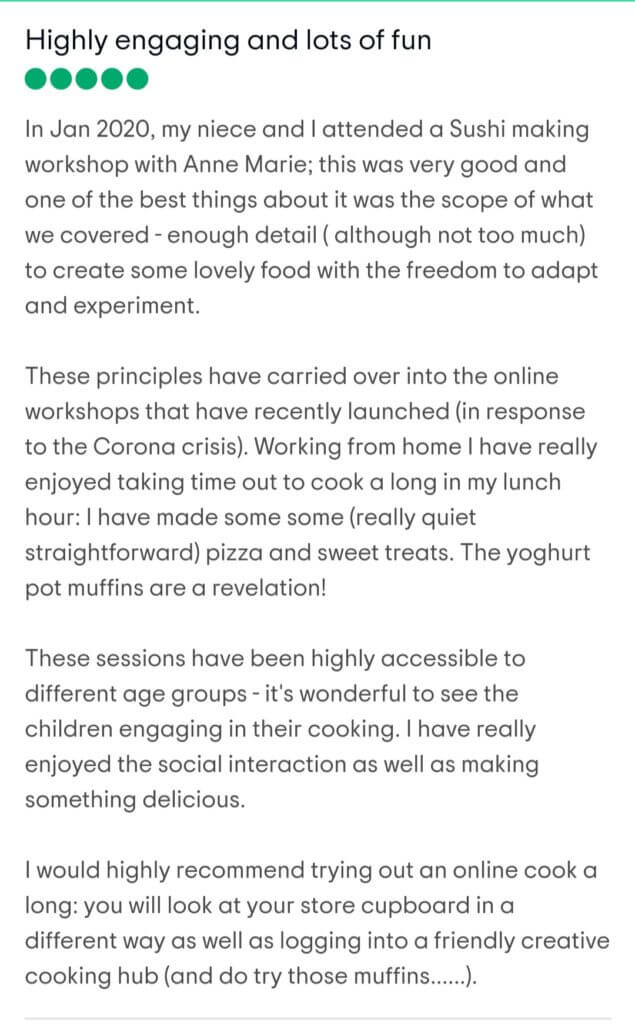 Review of zoom cooking lessons